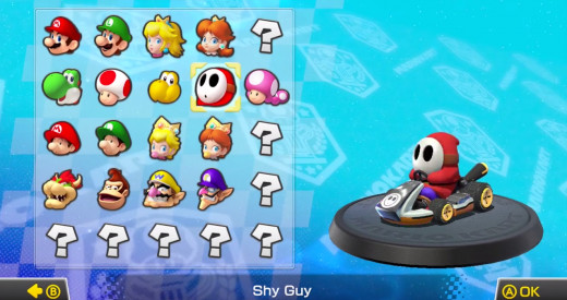 The character select screen of Mario Kart 8.