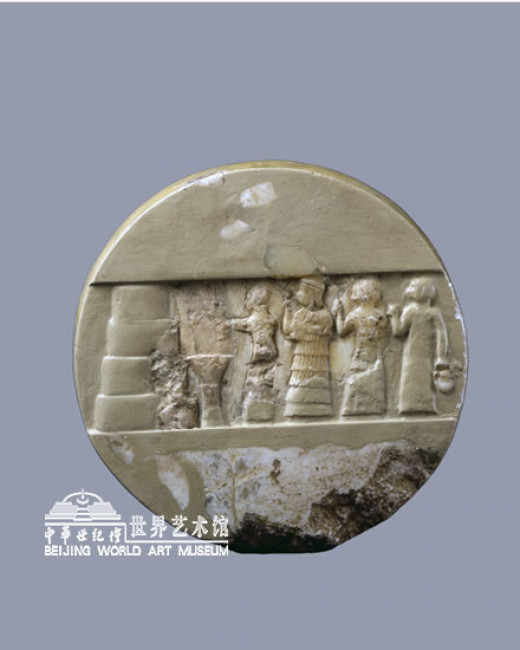 This limestone disc features Enheduanna overseeing a priest and two other priestesses performing a sacred purification ceremony. Unearthed 1927 by archeologists at Giparu temple; the private residents the High Priestess Enheduanna in Ur (Iraq).