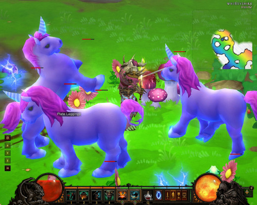 Big purple ponies in Diablo 3's Whimsyshire the new secret level.