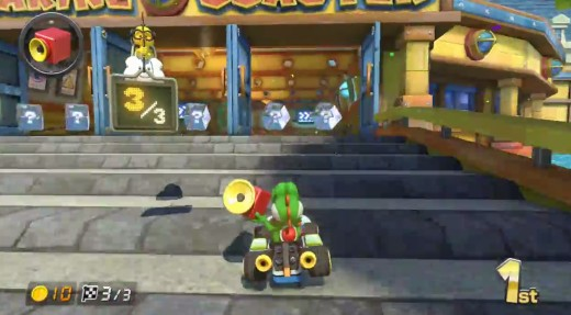 Sitting pretty in first place, Yoshi defends himself with a Music Box in Mario Kart 8.