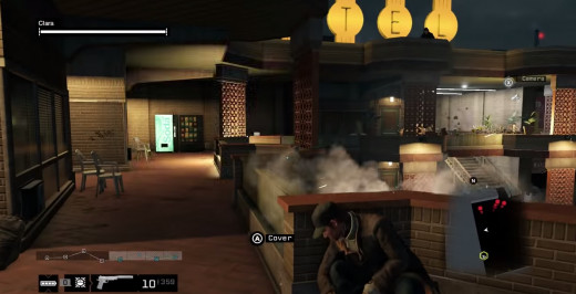 Under fire, Aiden hides on the second floor of the Owl Hotel in the Collateral mission of Watch_Dogs.