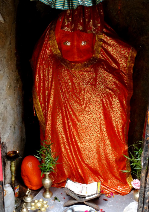 The idol of Dakshinamukhi (South facing) Hanumana at Jageswar