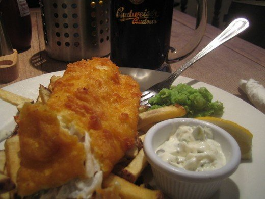the classic beer battered fish with homemade chips is an old favorite