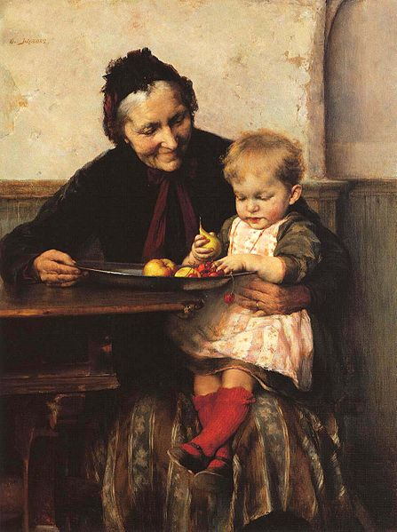"""Grandma's Favorite.""  Painting by Georgios Jakobides (1853-1932)."
