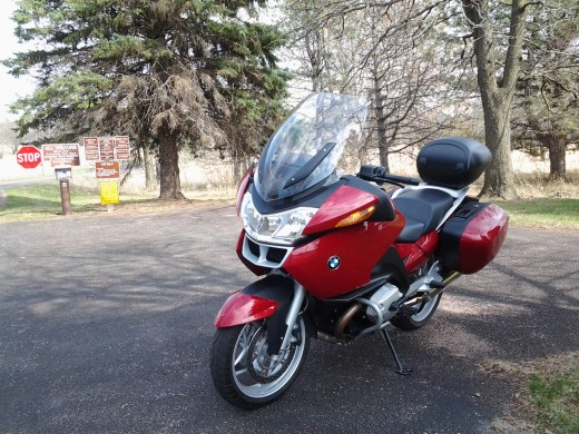 Taking the motorcycle for a ride to the park on Easter Sunday.