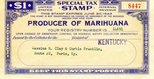 Marijuana Tax stamp required under the 1937 act, issued in 1942.
