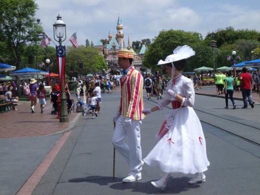 Characters wondering in Disneyland