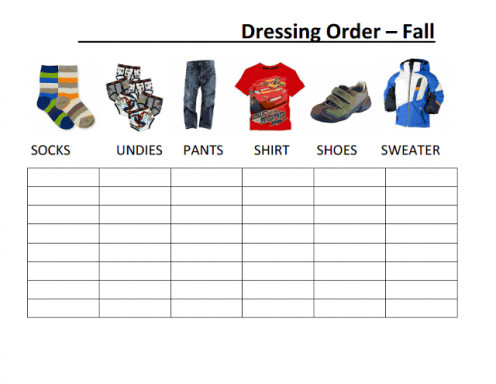 A Getting Dressed Order Chart