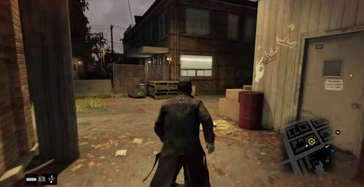 Aiden canvasses the area near the Wards, trying to break into a ctOS Centre in Watch_Dogs.