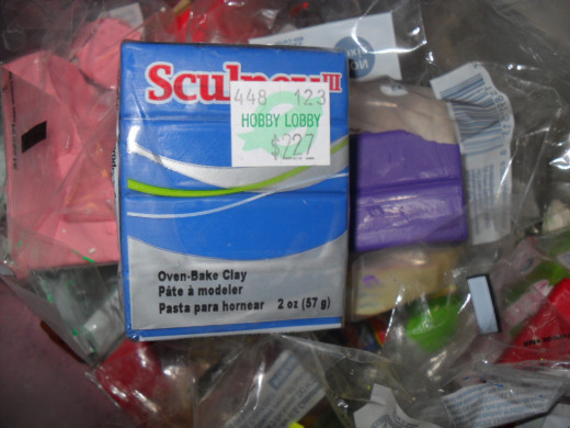 Sculpey Clay, local craft store for under $3.00