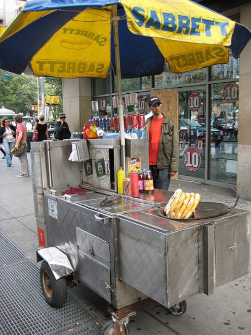 Hot Dog Cart in a location which would potentially get a lot of pedestrian traffic.