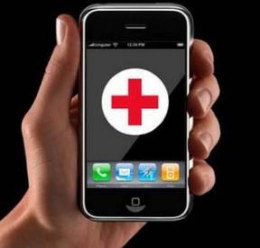 hand holding medical app on smart phone