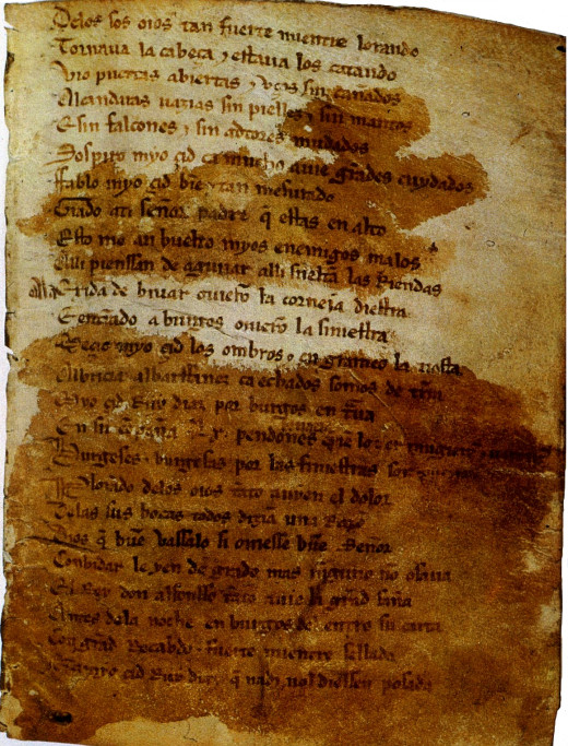 A page of the oldest preserved Spanish epic poem