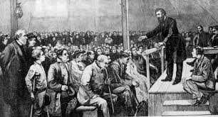 Depiction of William Booth preaching in a tent on the Mile End Waste, London, July 1865