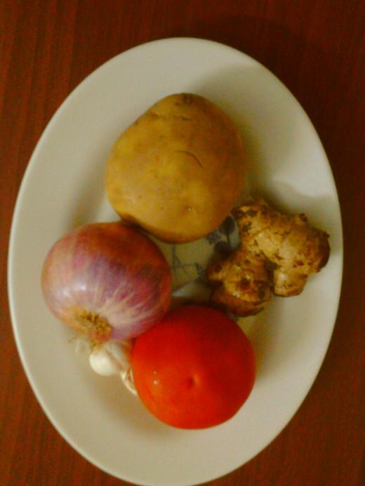 Potato,onion, tomato, ginger and garlic