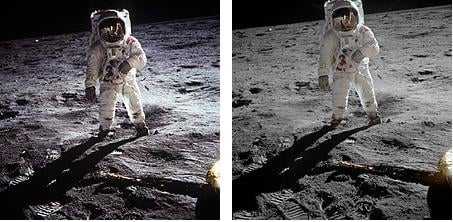 On the left - an image of Buzz Aldrin 'enhanced' showing the bright spot behind him. On the Right - the original photograph. No bright spot!