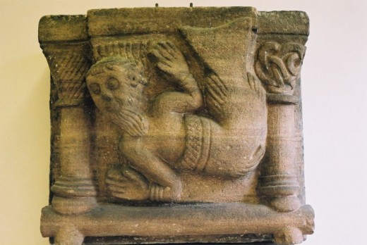 A romanesque sculpture depicting a merman. Legends of the mermen can be seen in artwork all over the world.