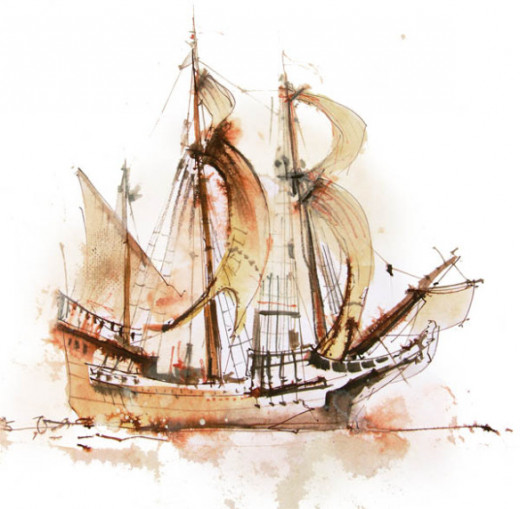 A watercolor rendering of a dutch ship circa 1600s