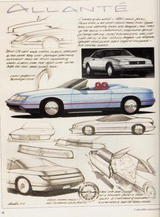 Harry Bradley's sketches for Cadillac Allanté interpretation