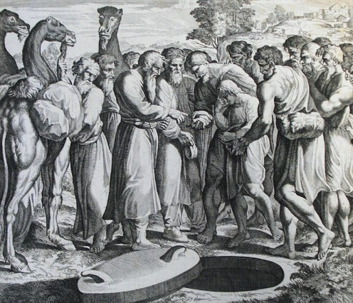 Joseph's brothers placing him in the well