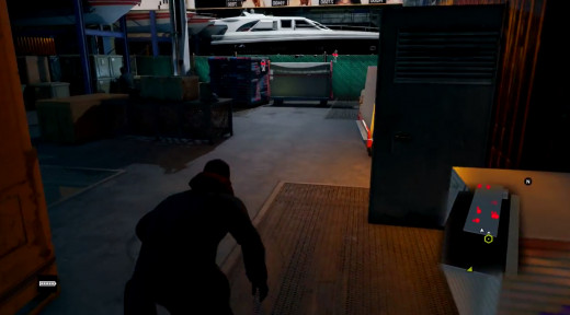 His cover blown, Aiden flees from Brandon Docks in the Watch_Dogs mission A Risky Bid.