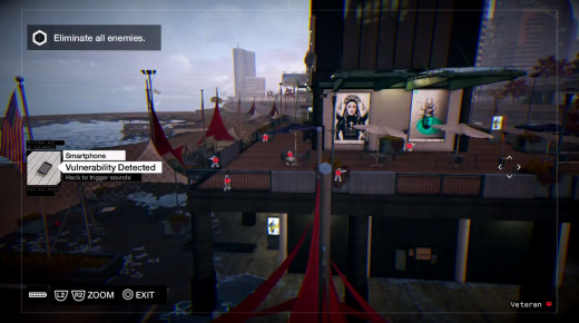 Aiden IDs a large number of prowling baddies while trying to reclaim his nephew in the Role Model mission of Watch_Dogs.