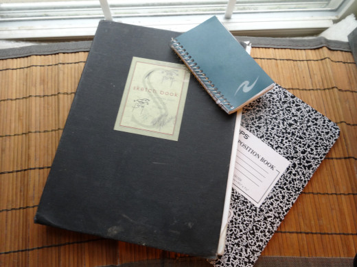 These are the sketchbook and notebooks that go everywhere with me.