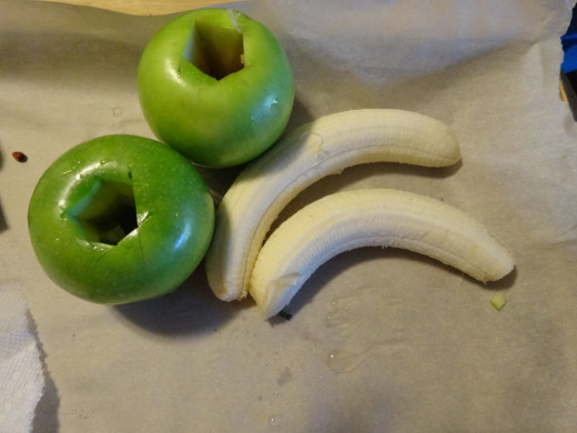 Peel your bananas and core out your apples, also decide if you want to peel your apple or leave on the skin.
