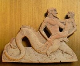 A carving of Triton from approx. 400 BC, showing his sensual nature...