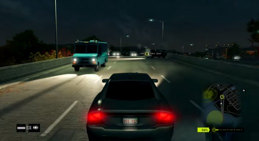 Aiden takes to the highway to flee from Fixers during the Way off the Grid mission of Watch_Dogs.