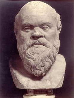 Traditional bust of Socrates, the inexorable interlocutor in Plato's dialogues.