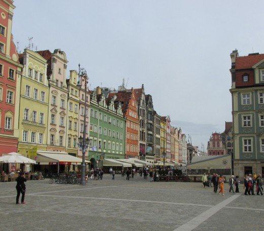 The colorful town square of Wrocław features scores of restaurants and shops.