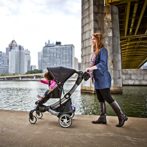 The Origami is the world's first cell phone-charging, mileage-counting, LCD-sporting stroller.