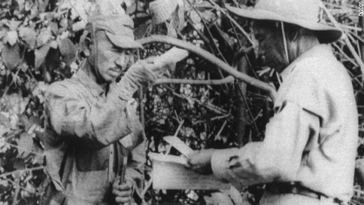 Hiroo Onoda Listening to his orders to Cease for Major Tanguchi