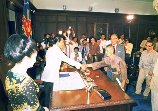 Hiroo Onoda and President Marcos of the Philippines