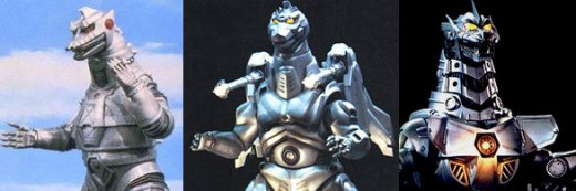 The three versions of Mechagodzilla: Showa, Heisei, Millenium (Kiryu)