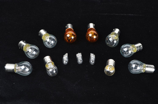 Assortment of bulbs used on a Jeep.