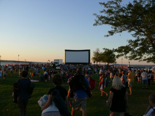 Bring a blanket and nestle in for free nightly movies on the really, really big screen at the Traverse City Film Festival.