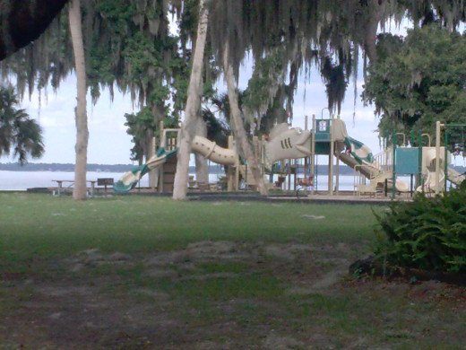 The children's playground on the boat ramp side of Carney Island.