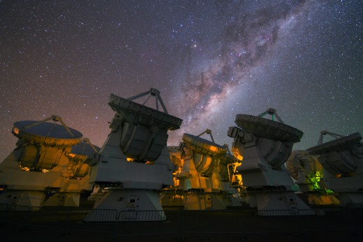 radio telescopes of the ALMA large millimeter array in the Atacama Desert