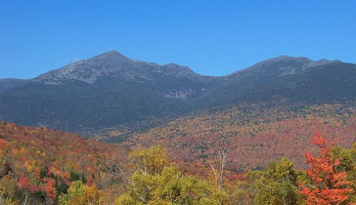 A panorama of the Presidential Range in the White Mountains of New Hampshire.