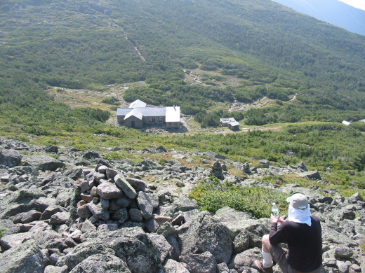 A view of Madison Springs Hut  from Mt. Madison - a welcome place to rest in the middle of the Presidential Range hike.
