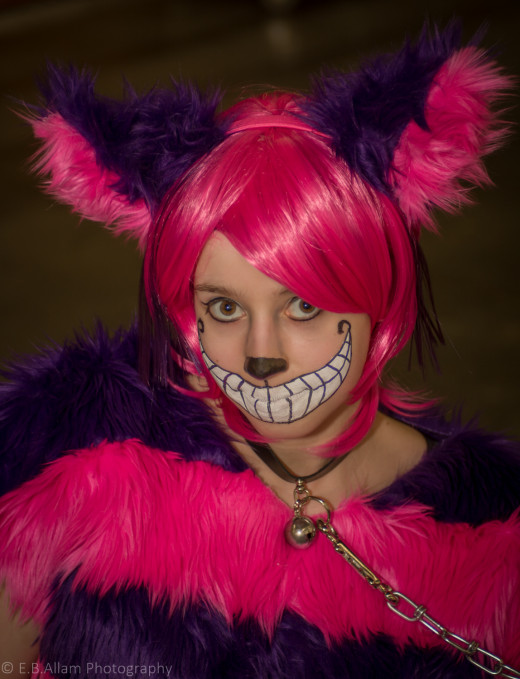As we waited to be let in, the Cheshire Cat explained to me the contests she was entered into for the day.