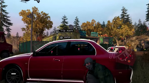 Aiden attempts to infiltrate a heavily-guarded trailer park during the A Pit of Paranoia mission in Watch_Dogs.