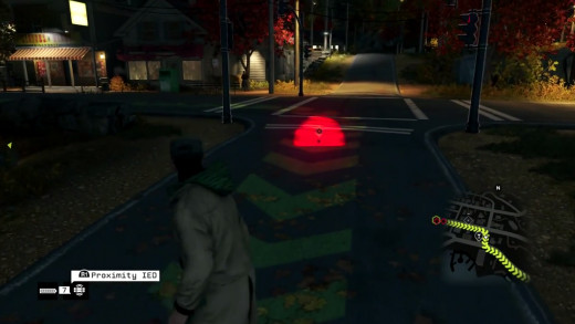 Aiden lays down some explosives to take out the convoy in the Unstoppable Force mission of Watch_Dogs.