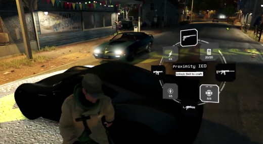 Aiden prepares a roadside ambush for a convoy heading through Pawnee in the Unstoppable Force mission of Watch_Dogs.