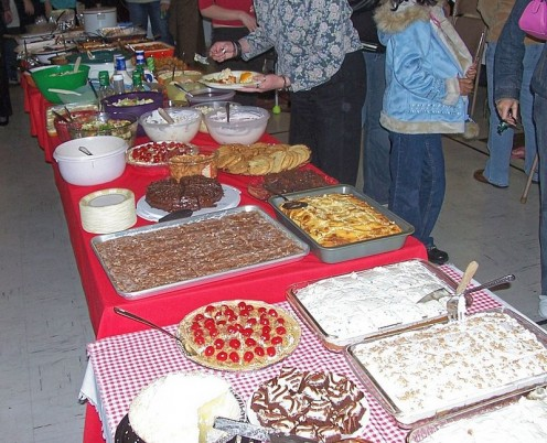 A typical pot luck dinner for a gathering