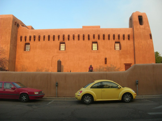 The New Mexico Museum of Art is located adjacent to the Santa Fe Plaza