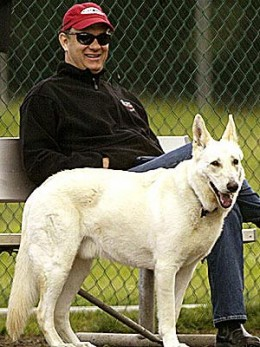 Tom Hanks and Monty who was Tom's best friend until he died in January of 2012.