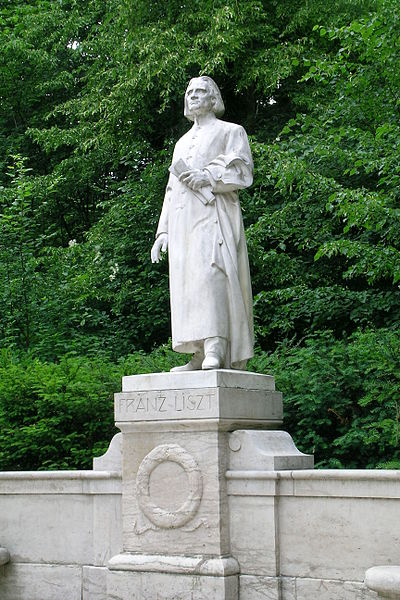 The Liszt Memorial near the Liszt House Weimar, a white marble statue situated in the Park an der Ilm and created by the sculptor Hermann Hahn
